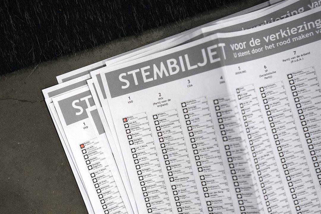 Stembiljetten. D66 heeft gewonnen met een duidelijke koers: de veestapel moet halveren. - Foto: ANP
