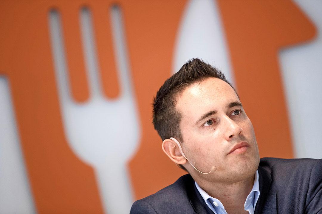 Jitse Groen, CEO van Just Eat Takeaway, zegt over 2020 dat het een 'uitzonderlijk' jaar voor het bedrijf was. De coronapandemie bracht volgens hem 'ongekende uitdagingen' met zich mee. Foto: ANP