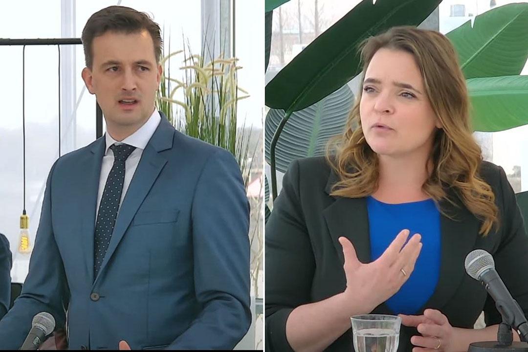 Jan Klink (VVD) en Eline Vedder (CDA) tijdens het Boerderij Verkiezingsdebat maandag 8 maart. - Foto: Misset