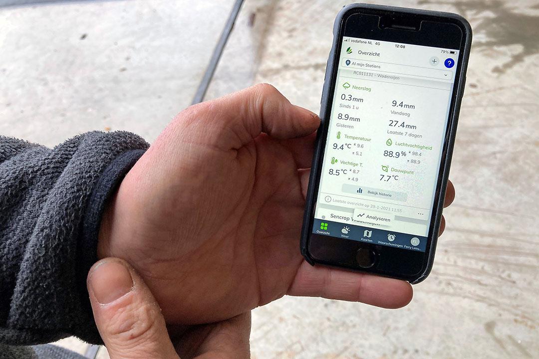 De adviesmodule van Dacom is gekoppeld aan de weerapp van Sencrop. Foto: Sencrop Dacom partnership