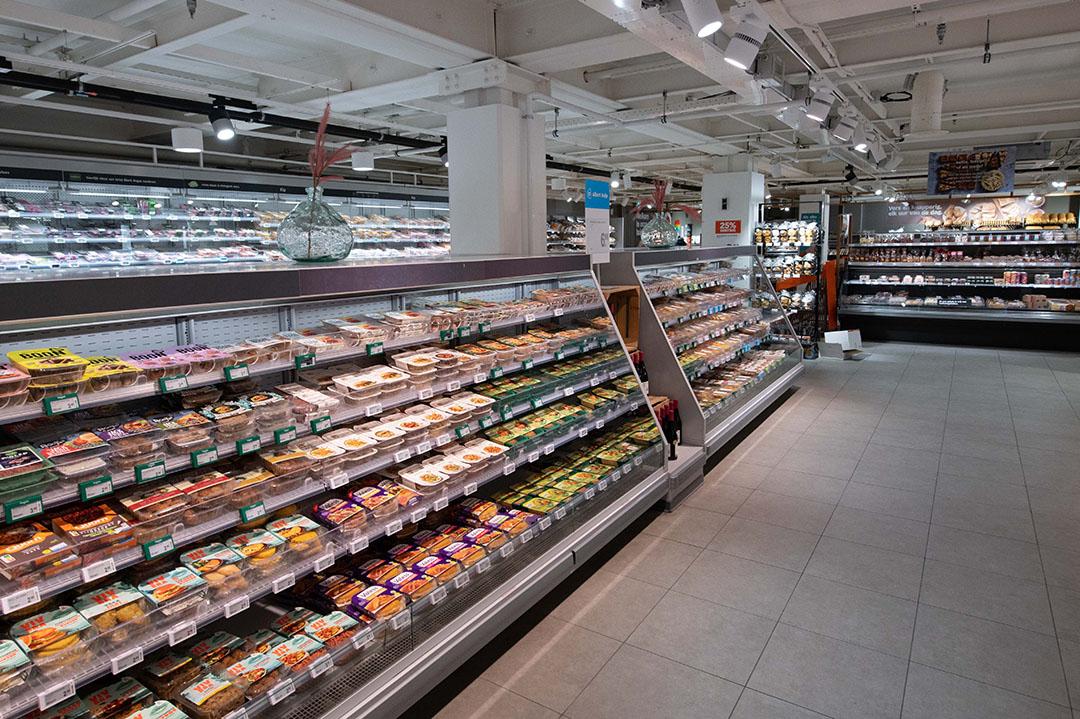 Het schap met vleesvervangers in een Albert Heijn supermarkt. Foto: Albert Heijn
