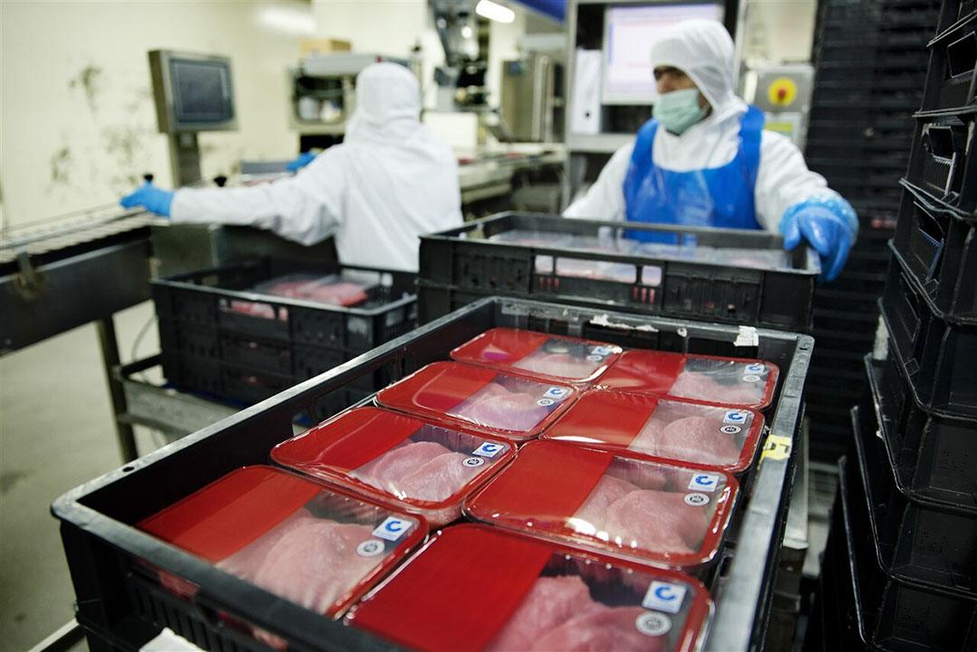 Kalfsvleesproducten in de slachterij van VanDrie.- Foto: ANP