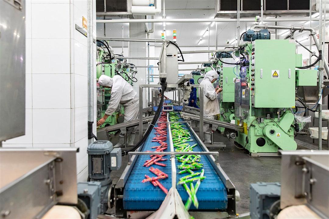 Productie van voorverpakte worsten bij een vestiging van WH Group in Zhengzhou, China. In totaal slachtte het bedrijf in 2020 46% minder varkens in vergelijking met het jaar ervoor. - Foto: ANP