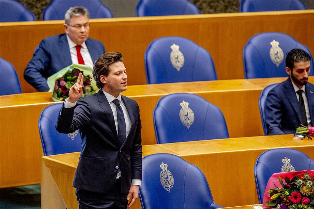 Thom van Campen (VVD) tijdens de beëdiging als lid van de Tweede Kamer. - Foto: ANP