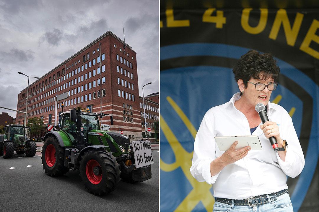 Trekkers rijden naar het Malieveld op 1 oktober 2019 en rechts Sieta van Keimpema, spreekt als woordvoerder van Farmers Defence Force (FDF) de boeren toe. - Foto's: Roel Dijkstra / Ton Kastermans Fotografie