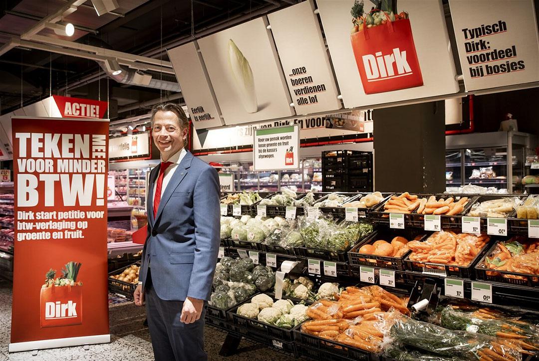 Algemeen directeur Marcel Huizing van supermarktketen Dirk. De supermarktketen startte eerder dit jaar een online petitie om de belasting op groente en fruit te verlagen. - Foto: ANP