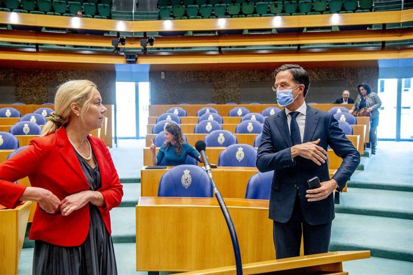 Sigrid Kaag (D66) en Mark Rutte (VVD) in de Tweede Kamer. - Foto: ANP
