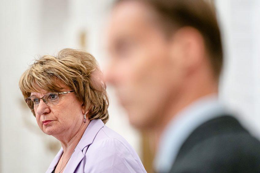 Informateur Mariëtte Hamer tijdens de persconferentie na het aanbieden van het eindverslag aan Tweede Kamervoorzitter Vera Bergkamp. - Foto: ANP