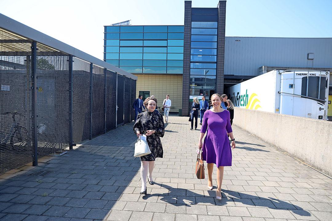 Staatssecretaris Alexandra Van Huffelen (Financien) en minister Carola Schouten (LNV) brachten een werkbezoek aan Dailyfresh in Hoek van Holland. Dailyfresh exporteert veel naar het VK. Foto: Dennis Wisse