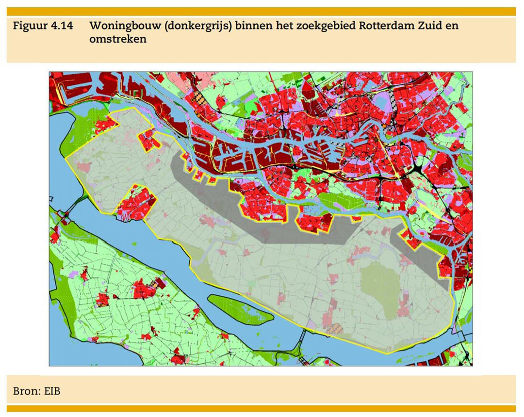 De Hoeksche Waard onder Rotterdam is helemaal ingekleurd als zoekgebied. Hier zouden op 5.600 hectare 83.500 woningen kunnen verrijzen. - Bron: EIB