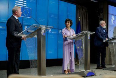 De persconferentie van de Europese Unie waarin het GLB-akkoord werd toegelicht. - Foto: ANP