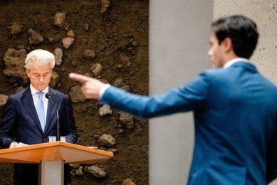 Geert Wilders (PVV) en Rob Jetten (D66) tijdens de eerste dag van de algemene politieke beschouwingen. - Foto: ANP