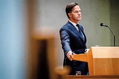 Demissionair premier Mark Rutte tijdens de beschouwingen in de Tweede Kamer. Foto: ANP