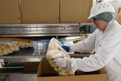 Productie van voorgebakken croissants in een bakkerij van Aryzta in Eisleben, Duitsland. - Foto: ANP