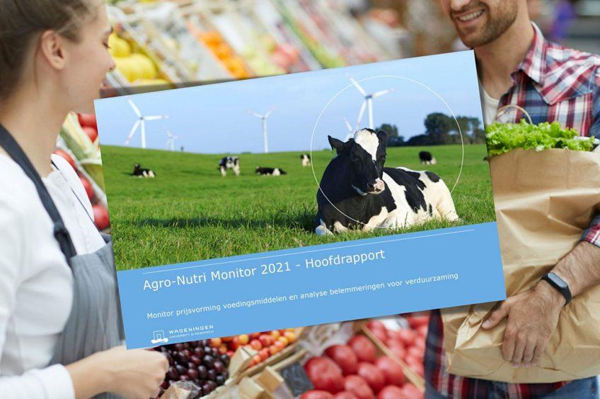 Cover rapport ACM Agro-Nutri Monitor. De consument is anno 2021 niet bepaald bereid om extra te betalen voor meer duurzame producten concludeert de autoriteit. - Foto: Canva en ACM